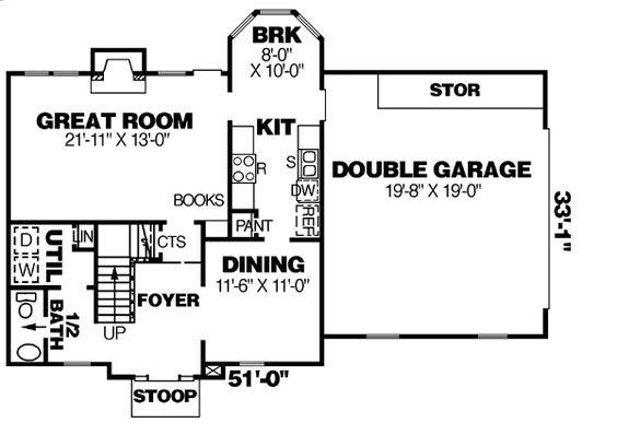 First Floor Plan of Traditional   House Plan 67048
