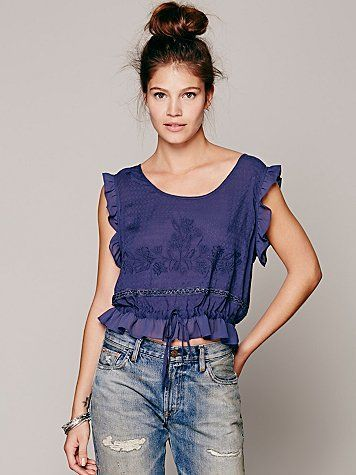 Free People Sleeveless Embroidered Crop Top