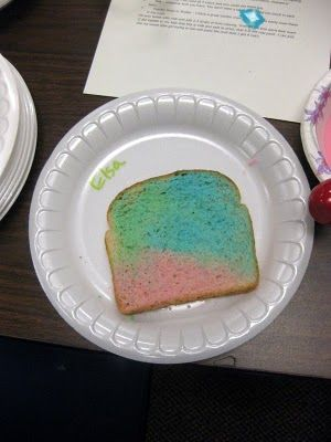Rainbow Toast - Brush milk colored with food coloring on white bread.  Toast them butter...