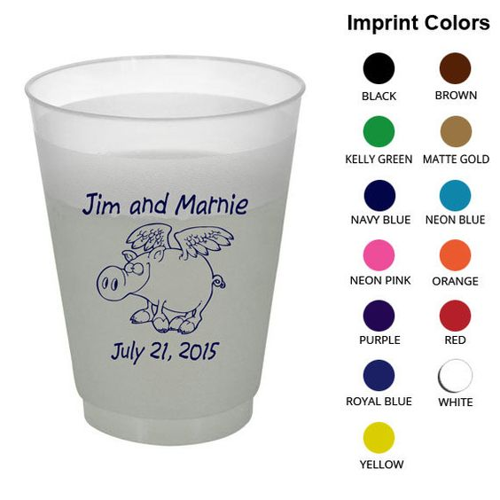 16 oz Shatterproof Cups (Clipart 1680) Flying Pigs - Wedding Frosted Cups - Personalized Frost Flex Cups - Custom Plastic Party Cups