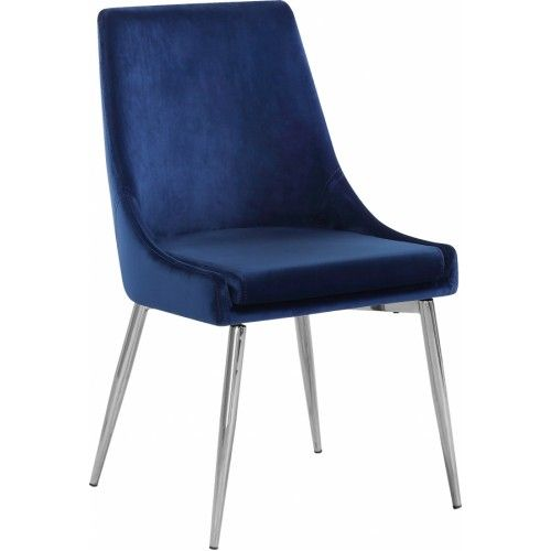 Blue Velvet Accent Chair Silver Toothpick Legs Velvet Dining Chairs Dining Chairs Upholstered Dining Chairs