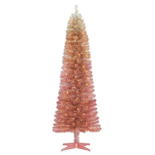 6ft Pre Lit Alexa Artificial Christmas Tree Clear Lights By Ashland Ombre Christmas Tree Artificial Christmas Tree Pink Christmas Decorations