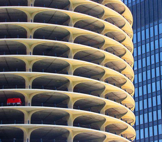 Marina City, Chicago. One-car garage. by o palsson, via Flickr
