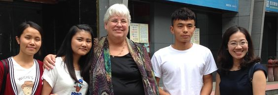 Scholarship students with Betty Cutts and Huali Luo