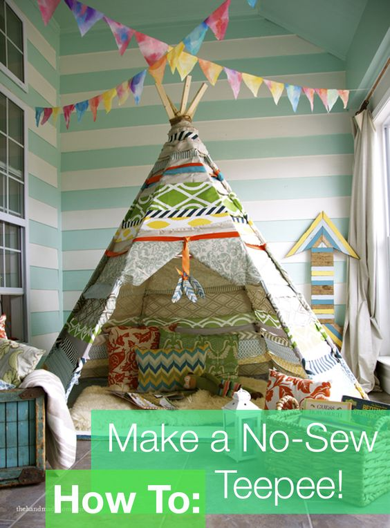 how to make a no sew teepee pin test pinterest teepees no sew and how to make. Black Bedroom Furniture Sets. Home Design Ideas