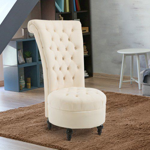 Homcom Elegant Royal High Back Velvet Tufted Accent Ottoman Chair