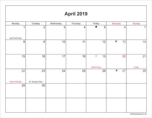 Uk Calendar April 2019 Moon Phase Calendar Holiday Calendar 2019 Calendar