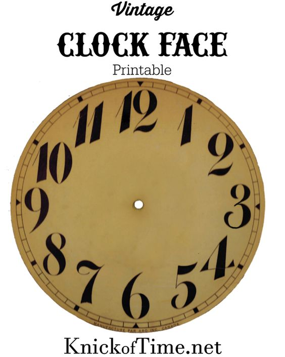 Vintage Clock Face Printable from KnickofTime.net:
