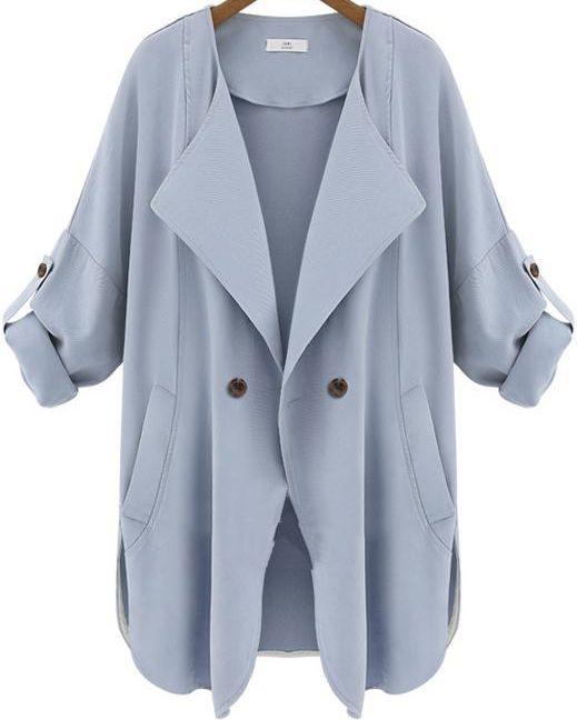 langärmeliger Trenchcoat mit Taschen, blau 22.67
