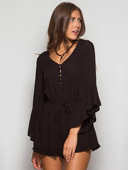 Plot Twist Romper - Black