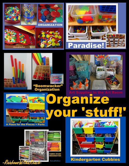 Organize your 'stuff': oodles of pictures of systems teachers use to get their materials organized.