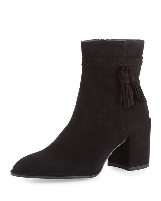 Tazzie Suede Tassel Bootie, Black, Women's, Size: 5.5B/35.5EU, Black Suede - Stuart Weitzman