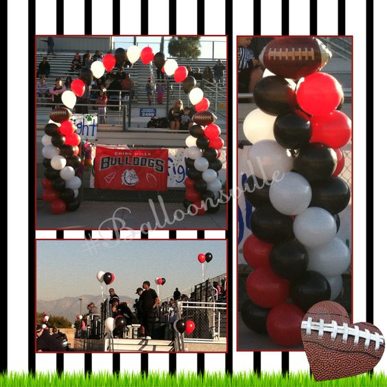 Football Theme balloon decor.  Red, Black & White balloon spiral column w/football topper & string of pearl arch. #Balloonsville