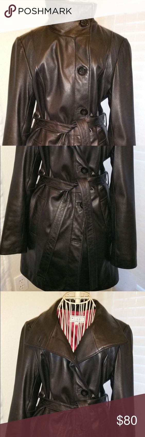 Pelle Studio genuine leather blazer jacket/coat stylish and comfortable black leather jacket with warm soft lining. It will go well with jeans/ leggings/pants :) lost one of the large buttons on the front of the jacket. Jackets & Coats