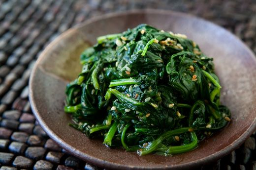 Spinach with Sesame and Garlic.   This is a fun take on spinach, a Korean version, with the spinach wilted in sesame oil with garlic, and sprinkled with toasted sesame seeds. I found the recipe years ago in Mark Bittman's The Best Recipes in the World. In typical Bittman style, the spinach is quick, easy, and good.
