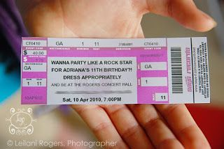 This site has a link to the site to make your own concert tickets. Perfect for a rock star birthday!
