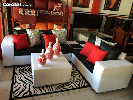 Juego de sala blanco con negro y mesa muebles for Jugar decoracion de interiores