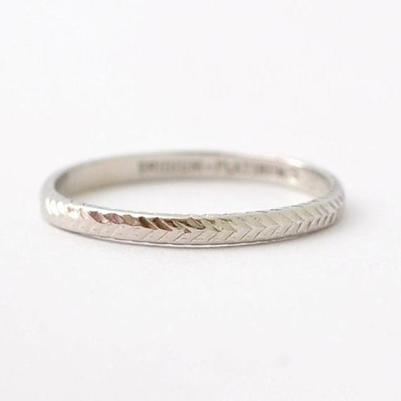Platinum Art Deco Wedding Band: Antique Wedding Rings, Simple Womens Jewelry, Unique, Size 8/8.25