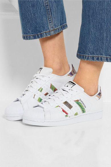Adidas Originals | Baskets en cuir à imprimé fleuri Superstar | NET-A-PORTER.COM
