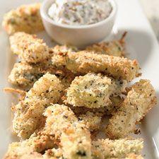 Baked zucchini sticks and sweet oninon dip