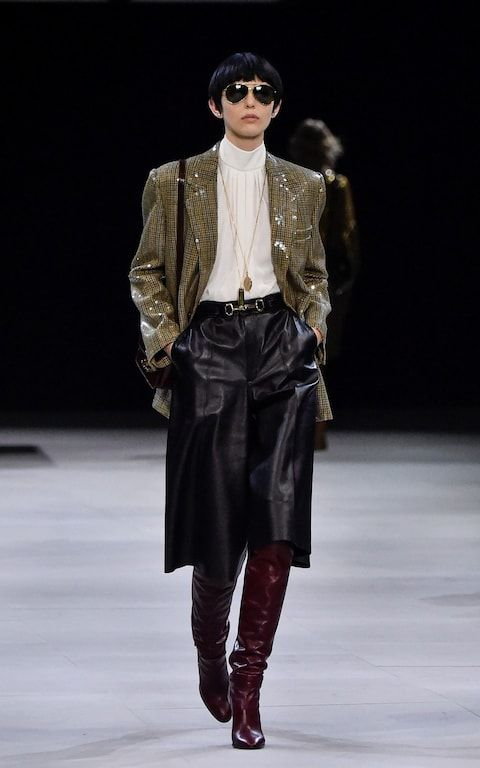 Celine leather culottes