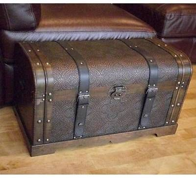Antique Wood Trunk Treasure Chest Coffee Table Cocktail Living