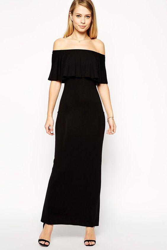 Black Ruffle Bardot Maxi Evening Dress Item No. : LC60067 ...