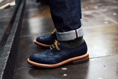 navy broque shoes