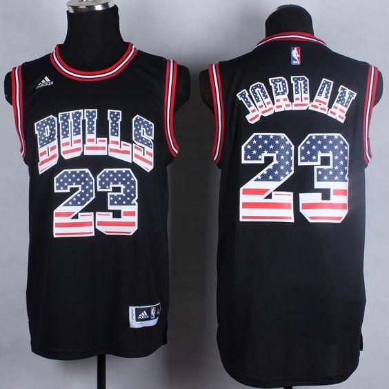 NBA USA Flag Fashion Jersey Chicago Bulls #23 Jordan black Jersey ...