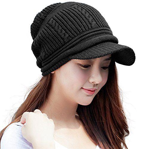 Siggi Womens Wool Knit Black Visor Beanie Jeep Cap Winter Newsboy Hat For Lady Fleece Linedone Size16214 Blac Winter Hats For Women Visor Beanie Hats For Women