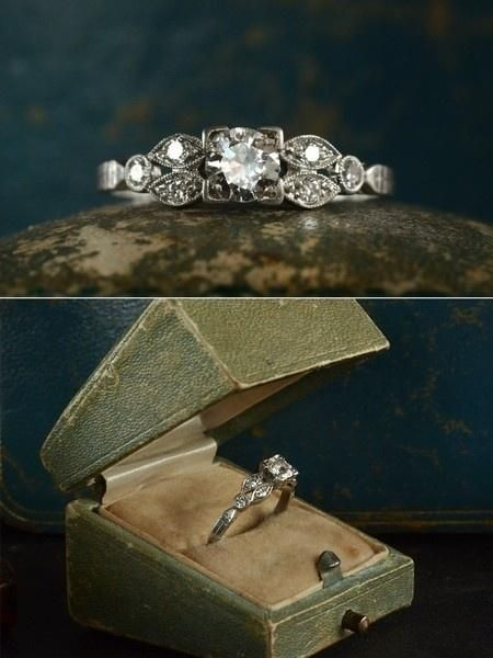 Vintage wedding ring...i love old looking rings.