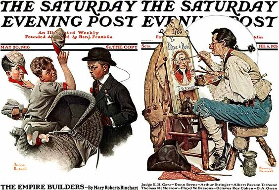 Saturday Evening Post: Rockwell's first cover (1916) and the Posts' first full-color cover (1926) Rockwell