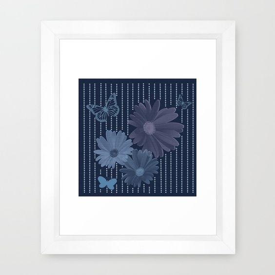 Shades of Blue - Butterflies and Flowers Framed Art Print
