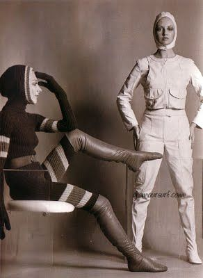 1968, knitted cat suits designed and modelled by Shirley Belljohn (left). Winter woolies; top and toe in stripes with gauntlets and over the knee boots