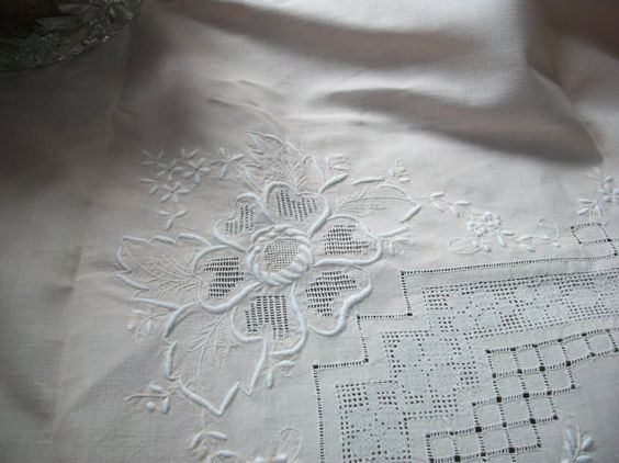 SOLD to J. Antique Vintage Softest Peach Hand Embroidered Whitework Linen Tablecloth