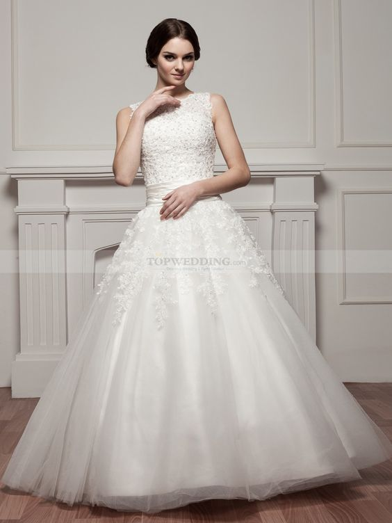 Beaded Round Neck Sleeveless Satin Ball Gown with Floral Accents