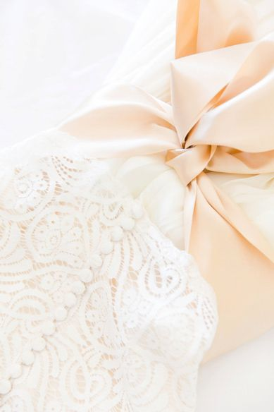Two Piece Martina Liana Gown with Gold Sash | Elegant Gold + White Wedding at Sea Pines Country Club by Charleston wedding photographer Dana Cubbage Weddings
