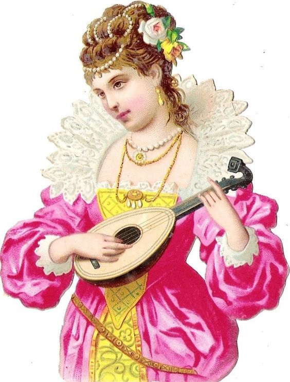 Oblaten Glanzbild scrap diecut chromo Dame lady femme Frau woman girl music: