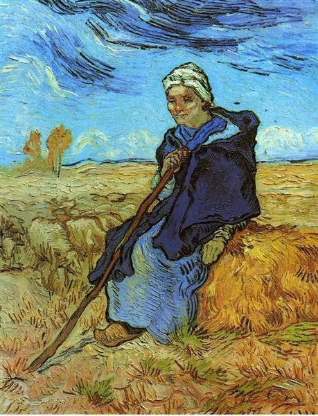 The Shepherdess (after Millet), 1889 by Vincent van Gogh. Post-Impressionism. genre painting. Tel Aviv Museum of Art, Tel Aviv, Israel