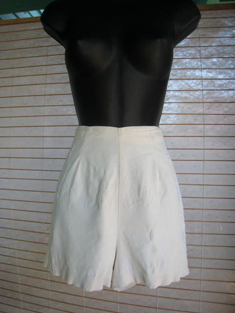 50s WHITE Shorts With EMBROIDERY Down The Sides by Flipsville, $75.00