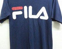 Sale Vintage 1990s Fila Logo Style Casual Indie Designer TShirt