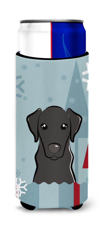 Winter Holiday Black Labrador Ultra Beverage Insulators for slim cans BB1731MUK