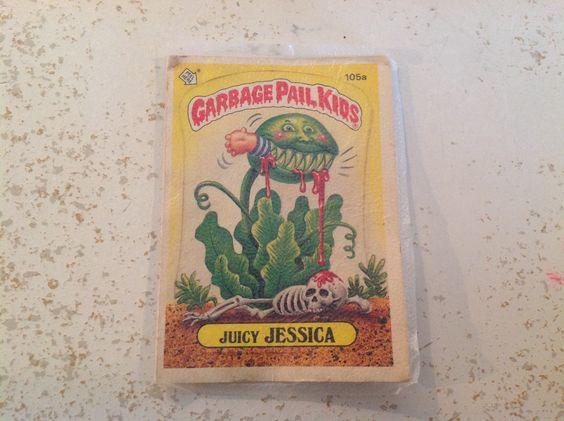 "Original Garbage Pail Kids sticker, ""Juicy Jessica"""