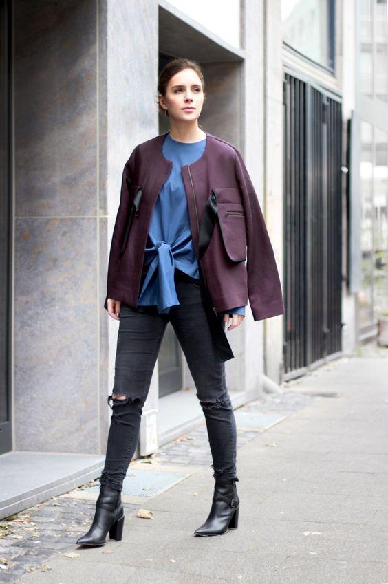 //SHOP THE LOOK // Den Colour-Blocking-Trend könnt ihr natürlich auch im Herbst rocken – Wie Crew-Member Stephanie. Ihre pflaumenfarbene Kastenjacke von @cosstores stylt sie zu einer blauen Bluse mit verspielten Knotendetails. Einen rockigen Touch verleiht sie ihrem Look mit den spitzen Absatzboots von @buffaloboots mit auffälligen Zierschnallen. Shoppt den Look hier nach: http://liketk.it/2pgwQ