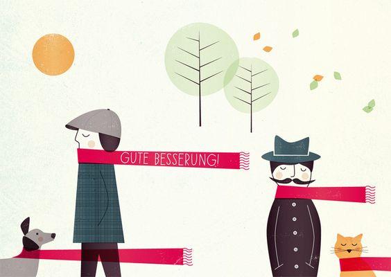 Herbst - Postkarte »Gute Besserung« - ein Designerstück von superkiosque bei DaWanda