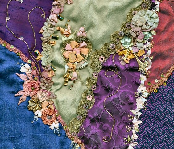 Crazy Embellishment Quilting Silk Ribbon Embroidery | ... : Shades of Purple Embellished with Silk Ribbon Crazy Quilt Block