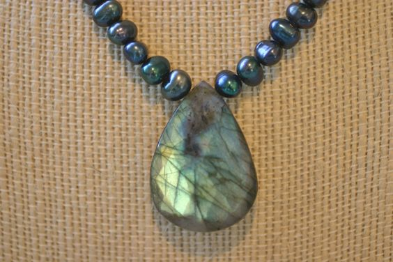 Labradorite and Peacock Pearl Necklace by allysbaubles on Etsy