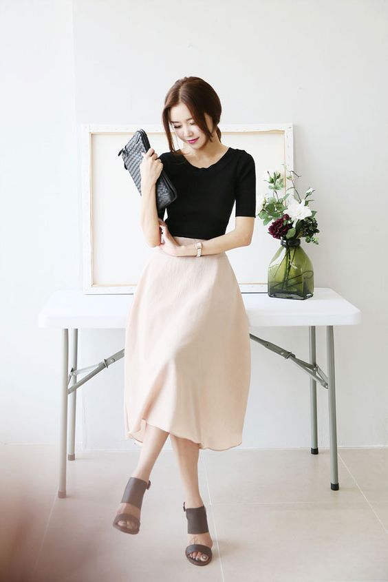 Band Long Flare Skirt Korean Fashion Outfits