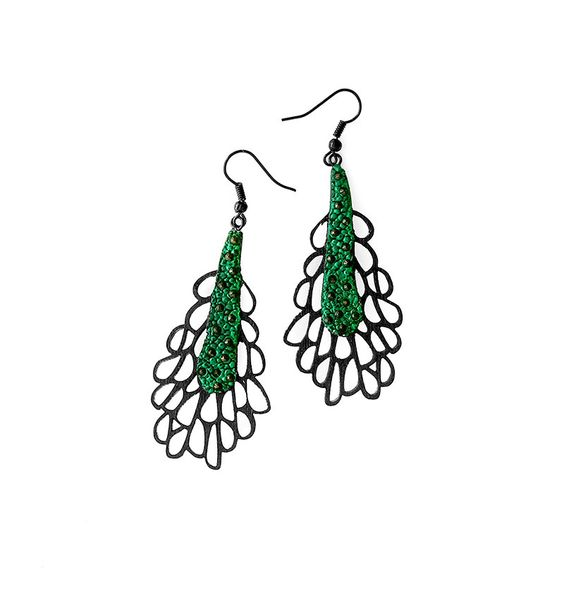 Limited edition designer earrings modern contemporary jewelry design FREE Shipping handmade lasercut wood polymer clay steel hooks