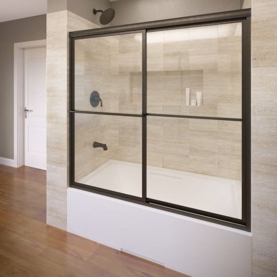 Basco Infinity 44 In To 47 In W X 70 In H Oil Rubbed Bronze Sliding Sh With Images Shower Doors Frameless Sliding Shower Doors Framed Shower Door